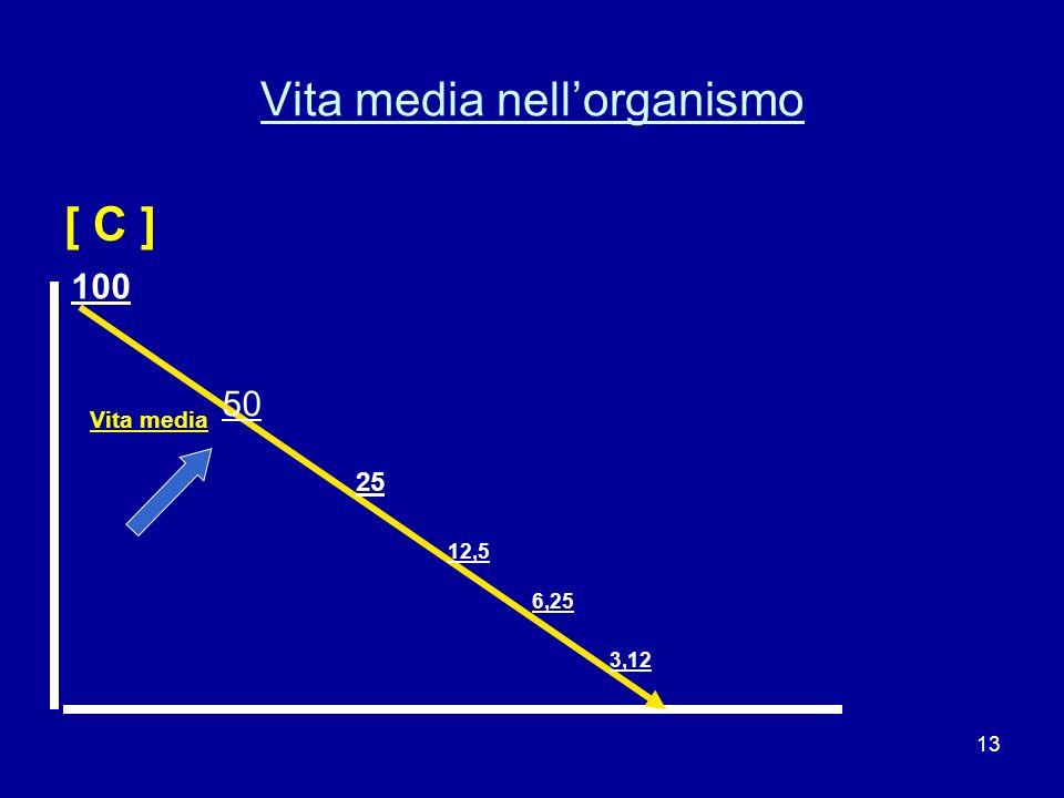 13 Vita media nellorganismo [ C ] Vita media 100 50 25 12,5 6,25 3,12