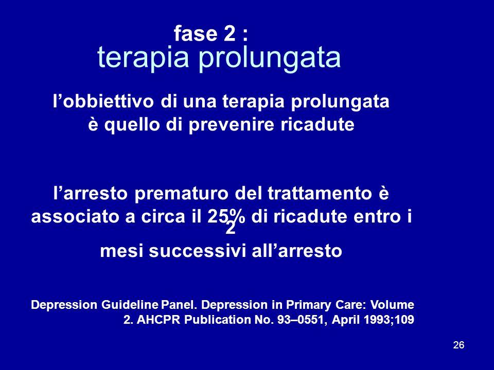 26 terapia prolungata lobbiettivo di una terapia prolungata è quello di prevenire ricadute larresto prematuro del trattamento è associato a circa il 2