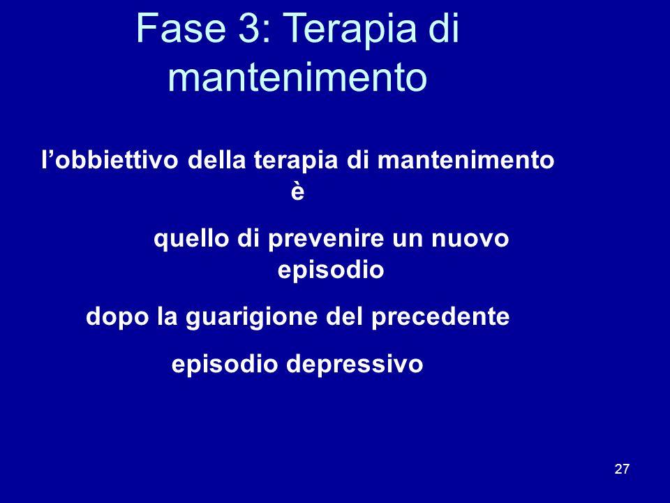 27 Fase 3: Terapia di mantenimento lobbiettivo della terapia di mantenimento è quello di prevenire un nuovo episodio dopo la guarigione del precedente episodio depressivo Depression Guideline Panel.