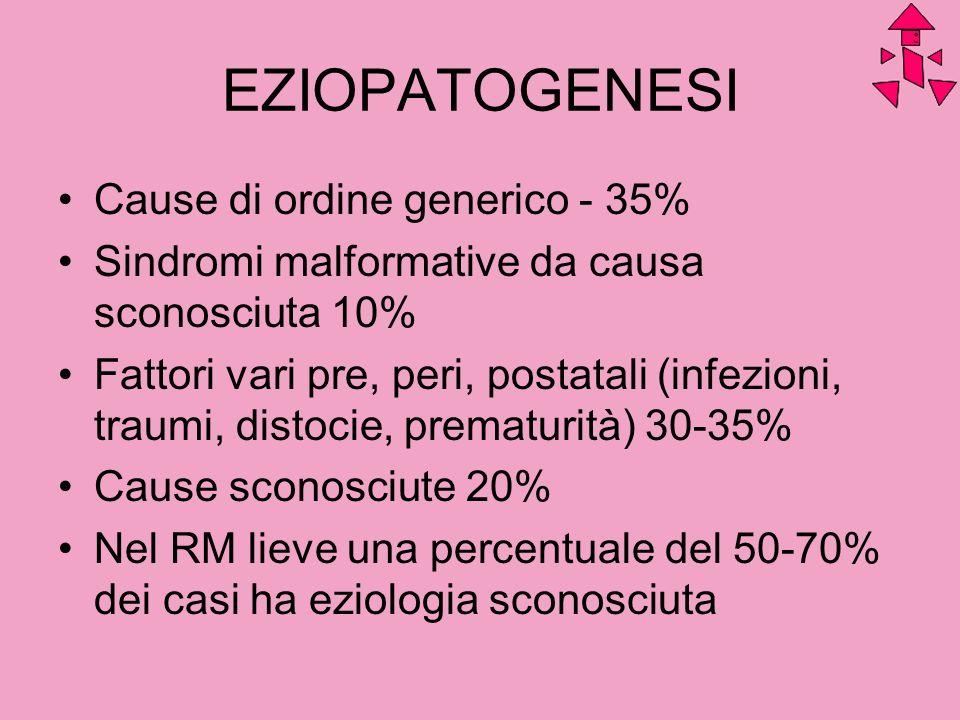 EZIOPATOGENESI Cause di ordine generico - 35% Sindromi malformative da causa sconosciuta 10% Fattori vari pre, peri, postatali (infezioni, traumi, dis