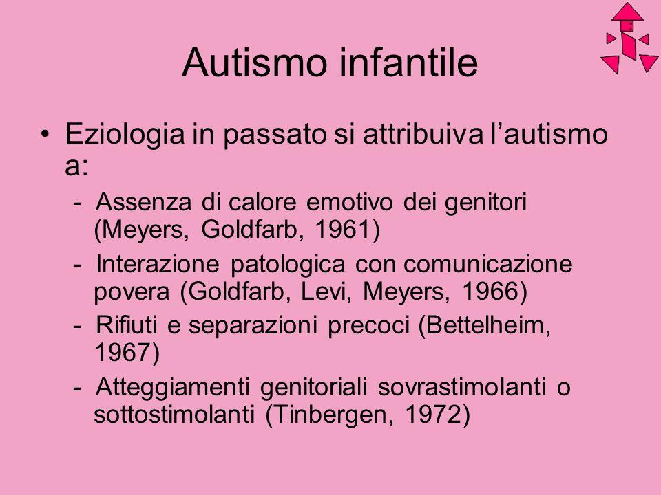 Autismo infantile Eziologia in passato si attribuiva lautismo a: - Assenza di calore emotivo dei genitori (Meyers, Goldfarb, 1961) - Interazione patol