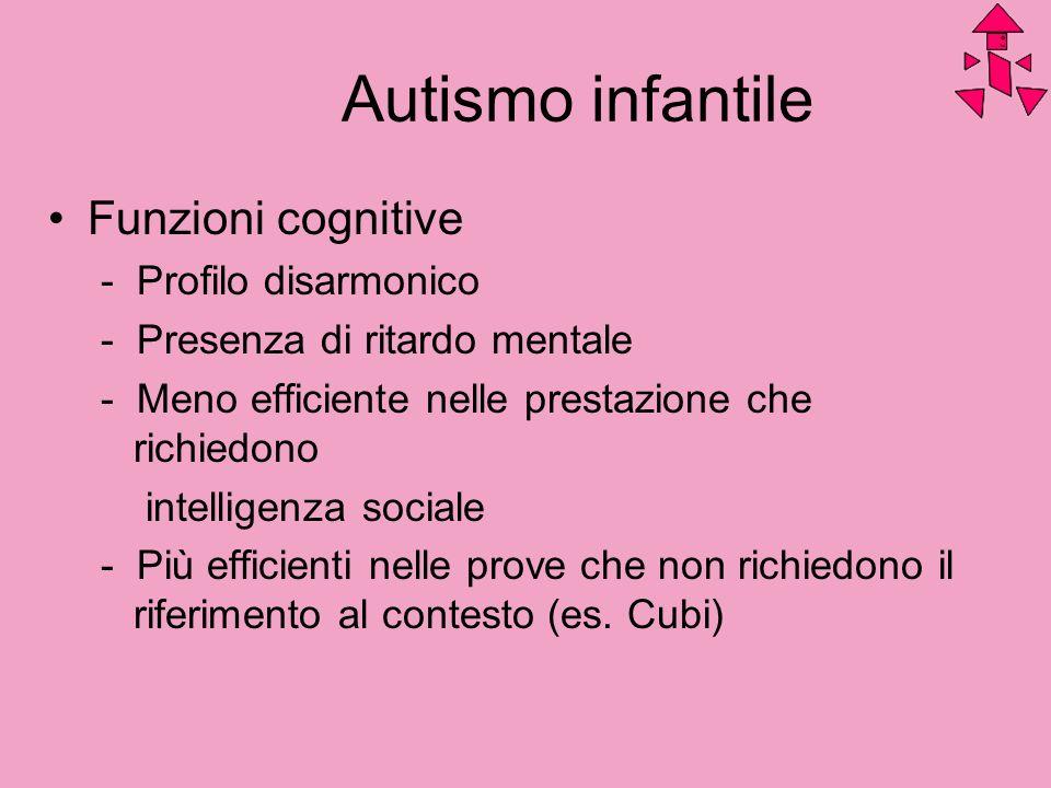 Autismo infantile Funzioni cognitive - Profilo disarmonico - Presenza di ritardo mentale - Meno efficiente nelle prestazione che richiedono intelligen