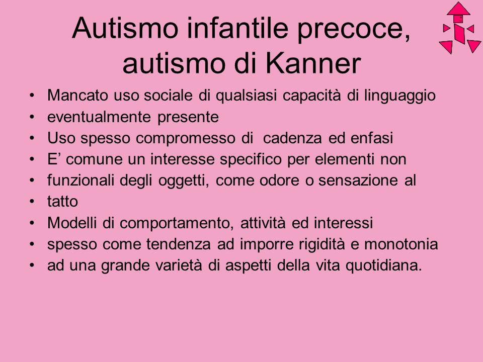 Autismo infantile precoce, autismo di Kanner Mancato uso sociale di qualsiasi capacità di linguaggio eventualmente presente Uso spesso compromesso di