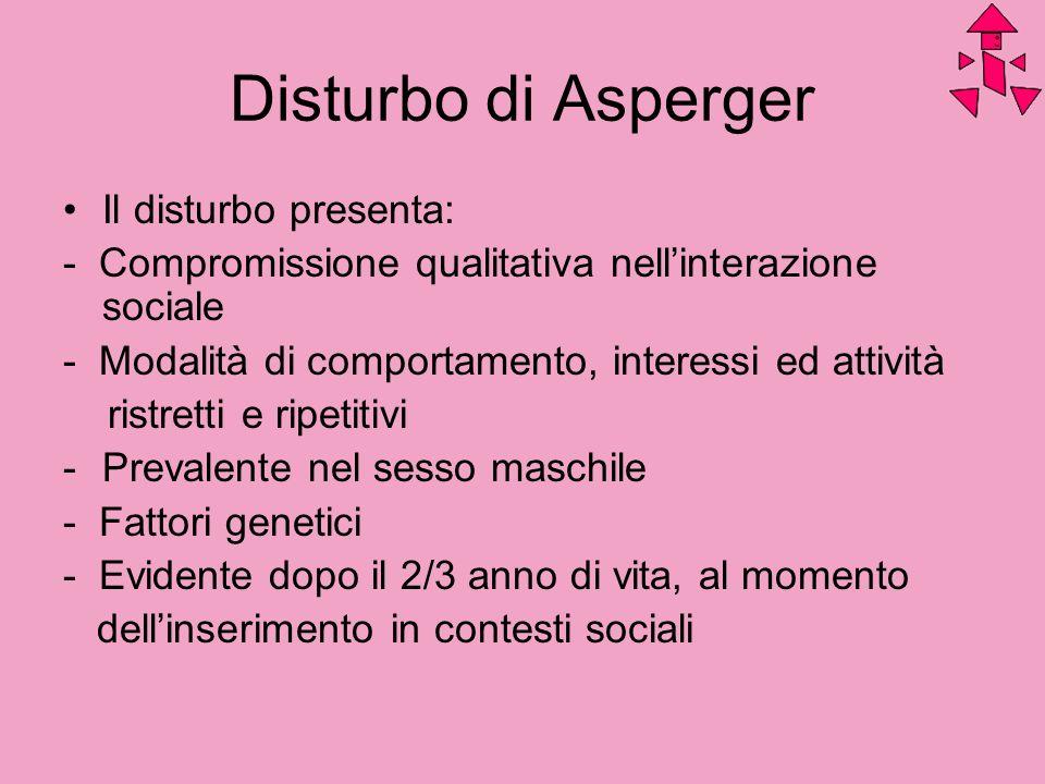 Disturbo di Asperger Il disturbo presenta: - Compromissione qualitativa nellinterazione sociale - Modalità di comportamento, interessi ed attività ris