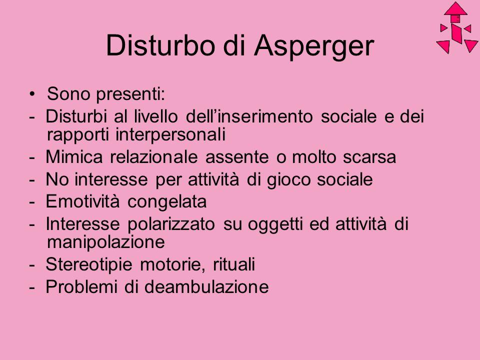 Disturbo di Asperger Sono presenti: - Disturbi al livello dellinserimento sociale e dei rapporti interpersonali - Mimica relazionale assente o molto s
