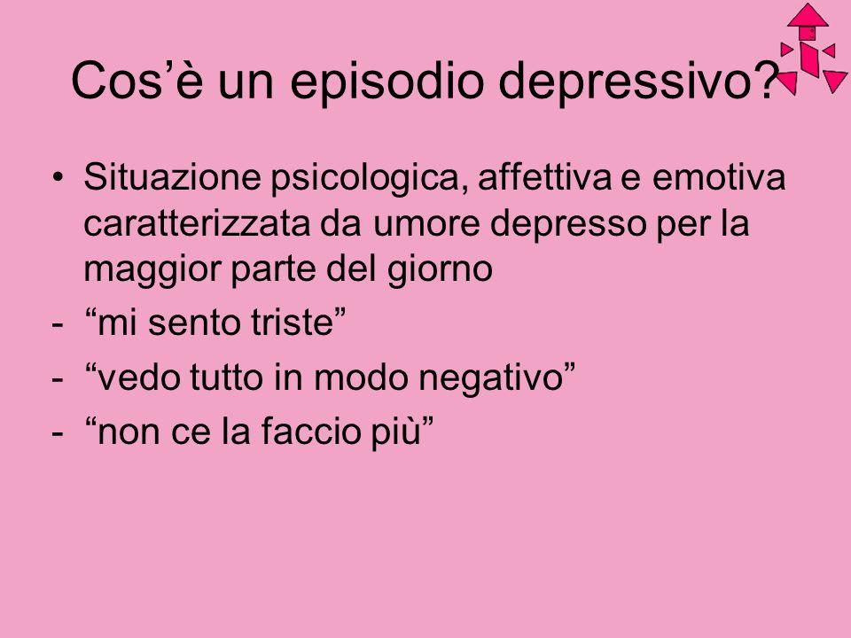 Cosè un episodio depressivo? Situazione psicologica, affettiva e emotiva caratterizzata da umore depresso per la maggior parte del giorno - mi sento t
