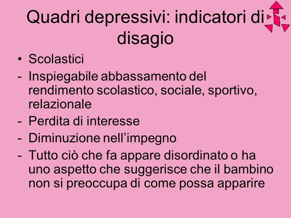 Quadri depressivi: indicatori di disagio Scolastici -Inspiegabile abbassamento del rendimento scolastico, sociale, sportivo, relazionale -Perdita di i