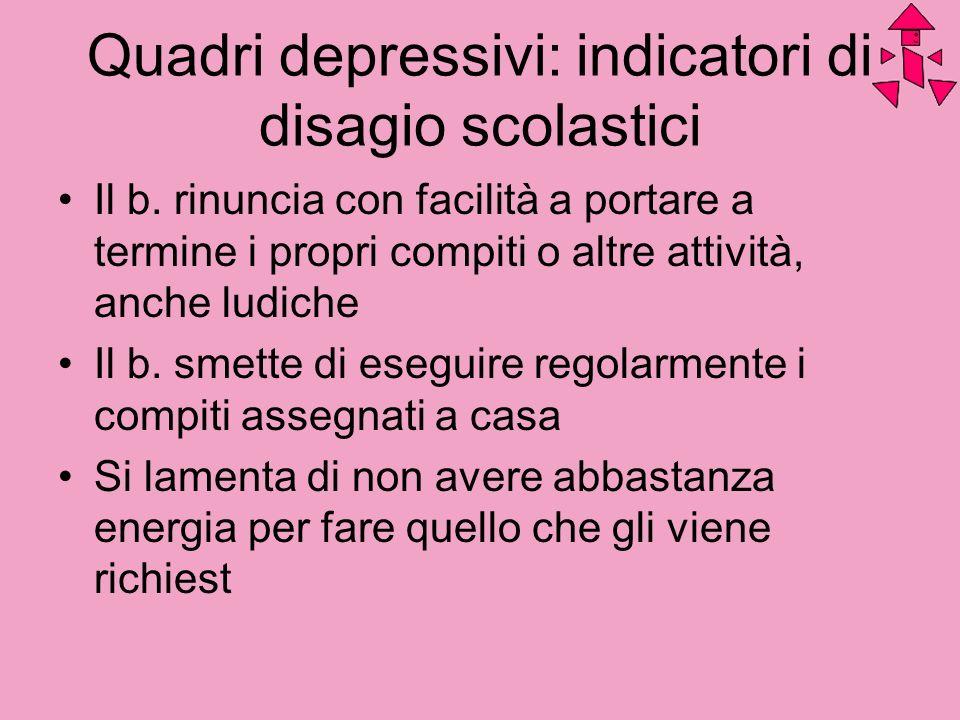 Quadri depressivi: indicatori di disagio scolastici Il b. rinuncia con facilità a portare a termine i propri compiti o altre attività, anche ludiche I