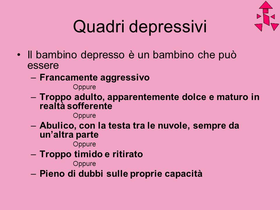 Quadri depressivi Il bambino depresso è un bambino che può essere –Francamente aggressivo Oppure –Troppo adulto, apparentemente dolce e maturo in real