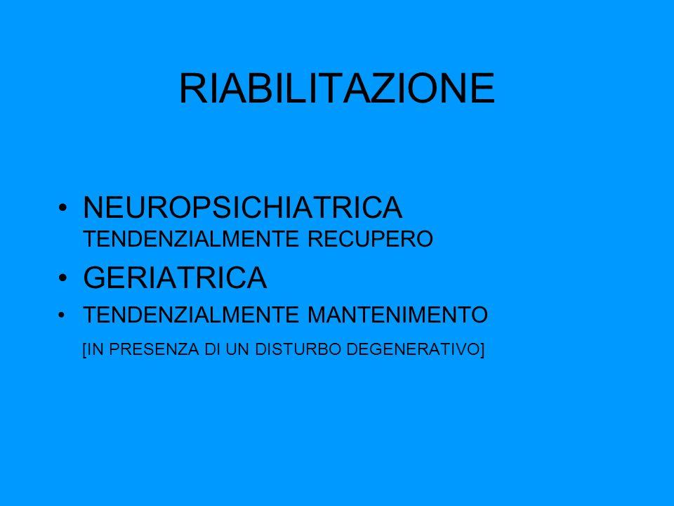 RIABILITAZIONE NEUROPSICHIATRICA TENDENZIALMENTE RECUPERO GERIATRICA TENDENZIALMENTE MANTENIMENTO [IN PRESENZA DI UN DISTURBO DEGENERATIVO]