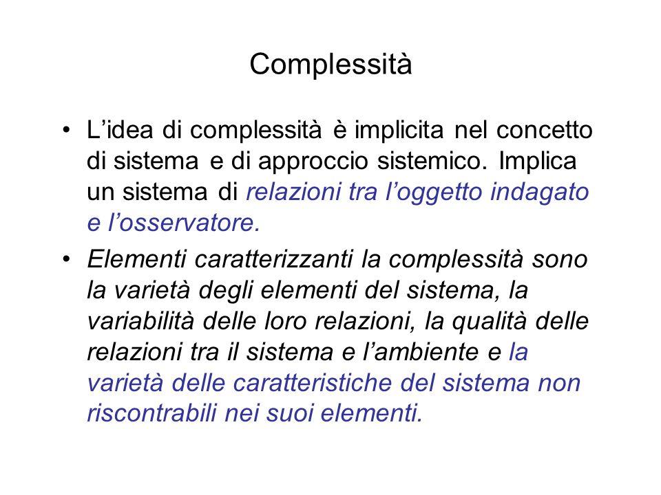 Complessità Lidea di complessità è implicita nel concetto di sistema e di approccio sistemico. Implica un sistema di relazioni tra loggetto indagato e