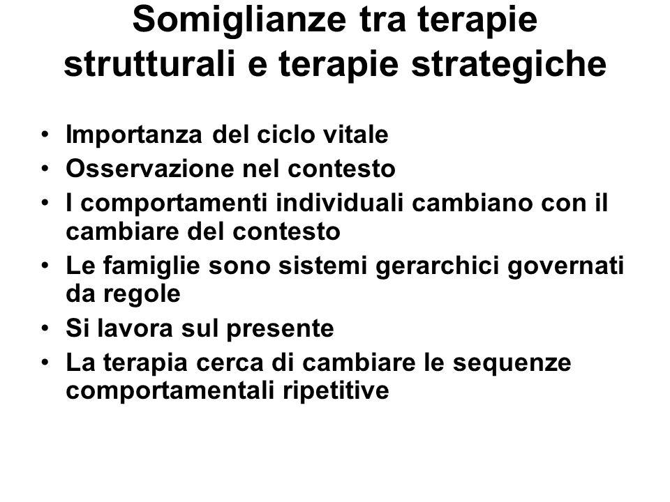Somiglianze tra terapie strutturali e terapie strategiche Importanza del ciclo vitale Osservazione nel contesto I comportamenti individuali cambiano c