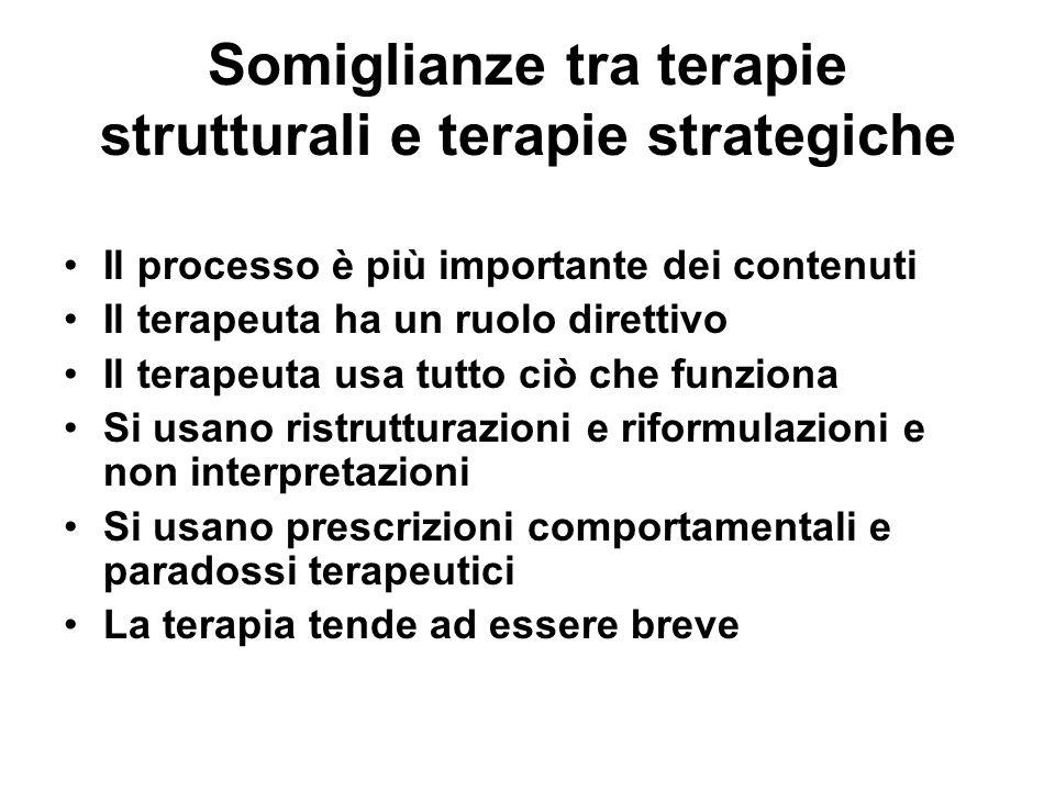 Somiglianze tra terapie strutturali e terapie strategiche Il processo è più importante dei contenuti Il terapeuta ha un ruolo direttivo Il terapeuta u