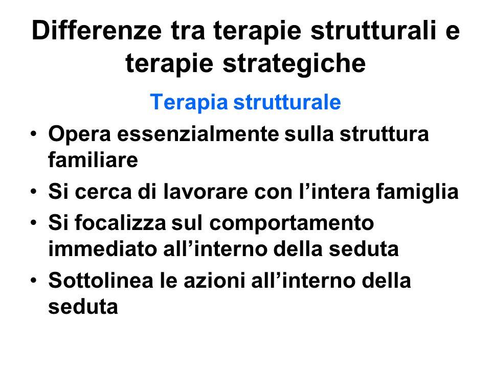 Differenze tra terapie strutturali e terapie strategiche Terapia strutturale Opera essenzialmente sulla struttura familiare Si cerca di lavorare con l
