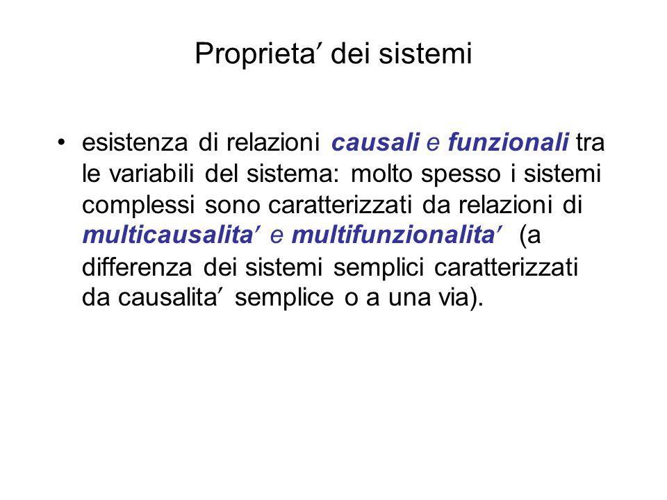 Proprieta dei sistemi esistenza di relazioni causali e funzionali tra le variabili del sistema: molto spesso i sistemi complessi sono caratterizzati d