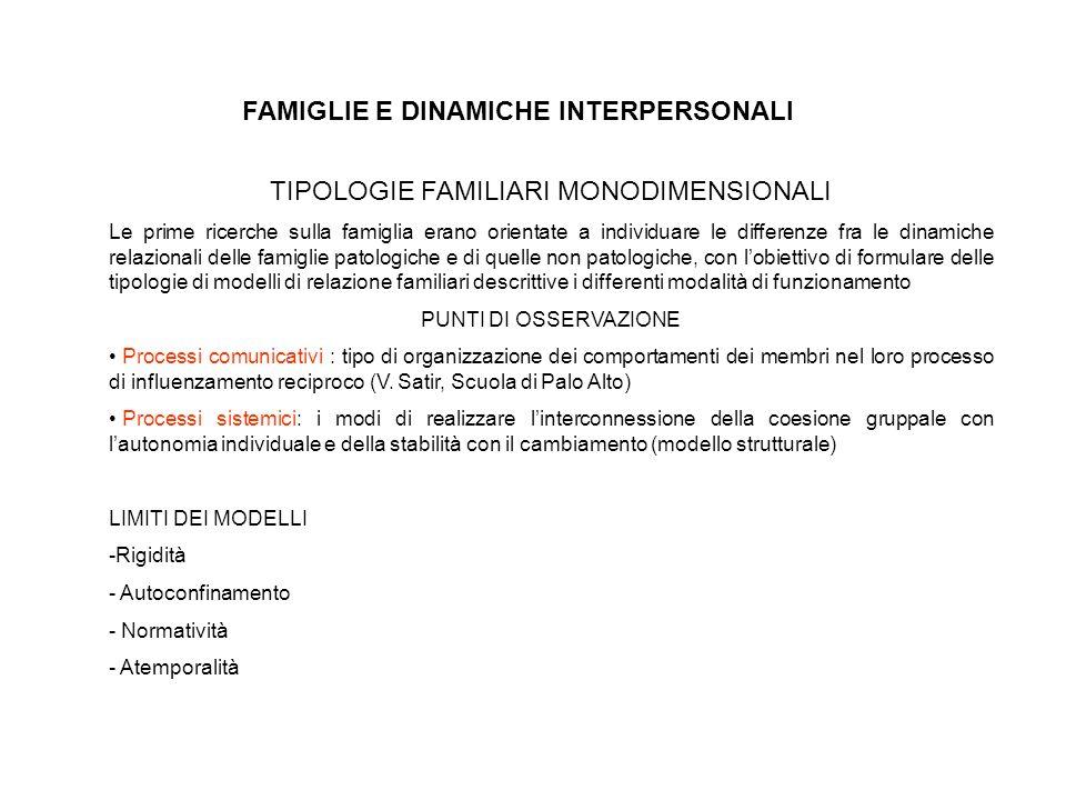 FAMIGLIE E DINAMICHE INTERPERSONALI TIPOLOGIE FAMILIARI MONODIMENSIONALI Le prime ricerche sulla famiglia erano orientate a individuare le differenze