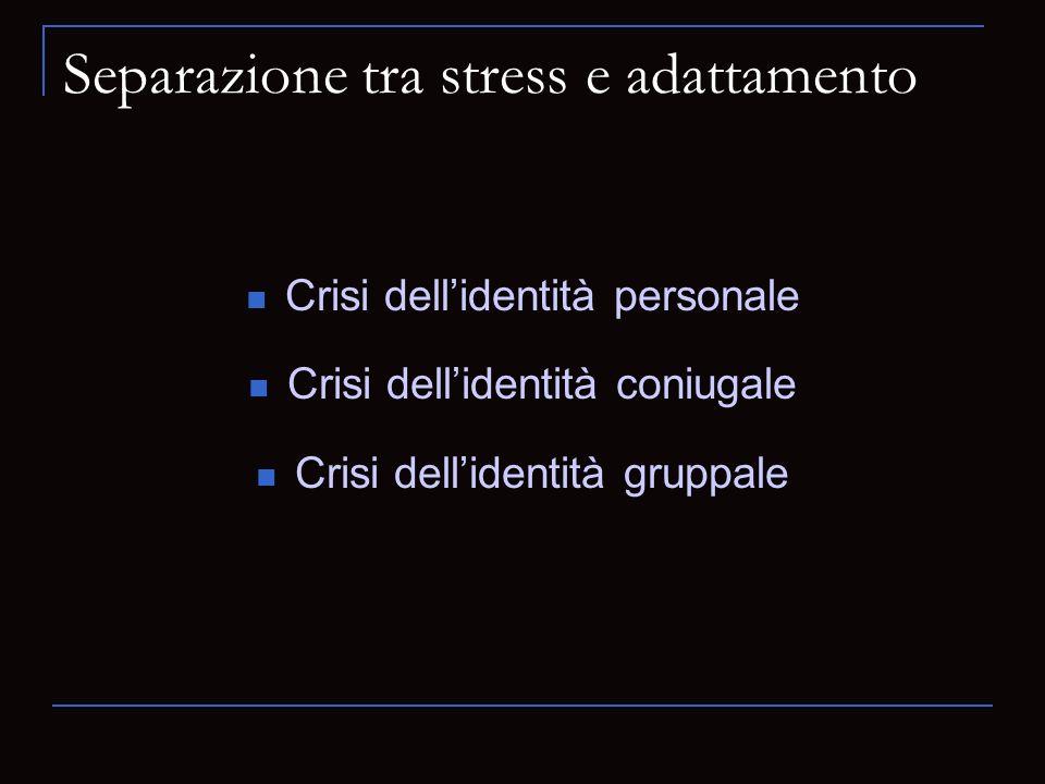 Separazione tra stress e adattamento Crisi dellidentità personale Crisi dellidentità coniugale Crisi dellidentità gruppale