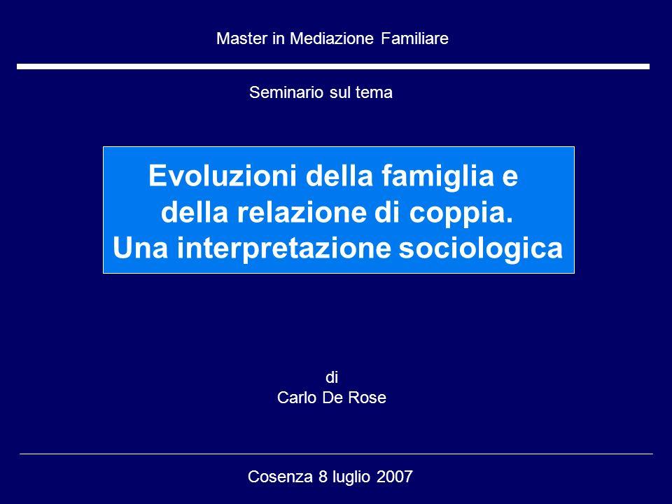 di Carlo De Rose Cosenza 8 luglio 2007 Master in Mediazione Familiare Seminario sul tema Evoluzioni della famiglia e della relazione di coppia.