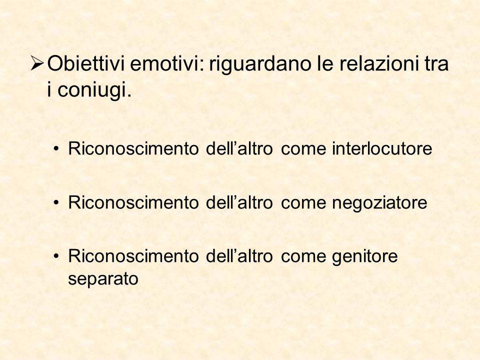 Obiettivi emotivi: riguardano le relazioni tra i coniugi. Riconoscimento dellaltro come interlocutore Riconoscimento dellaltro come negoziatore Ricono