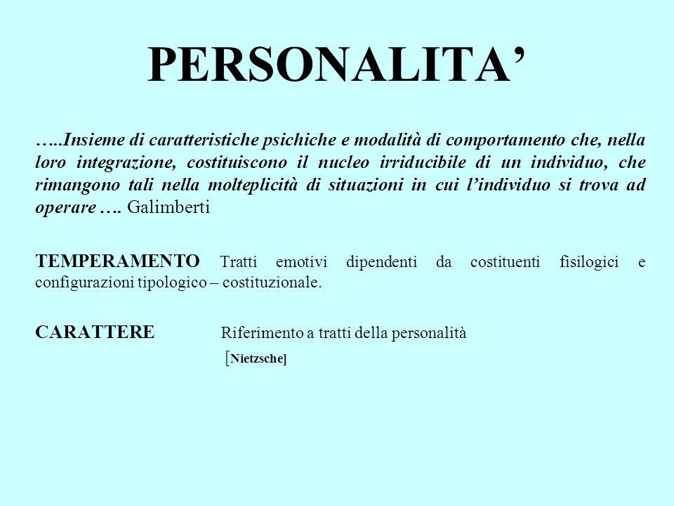 PERSONALITA …..Insieme di caratteristiche psichiche e modalità di comportamento che, nella loro integrazione, costituiscono il nucleo irriducibile di