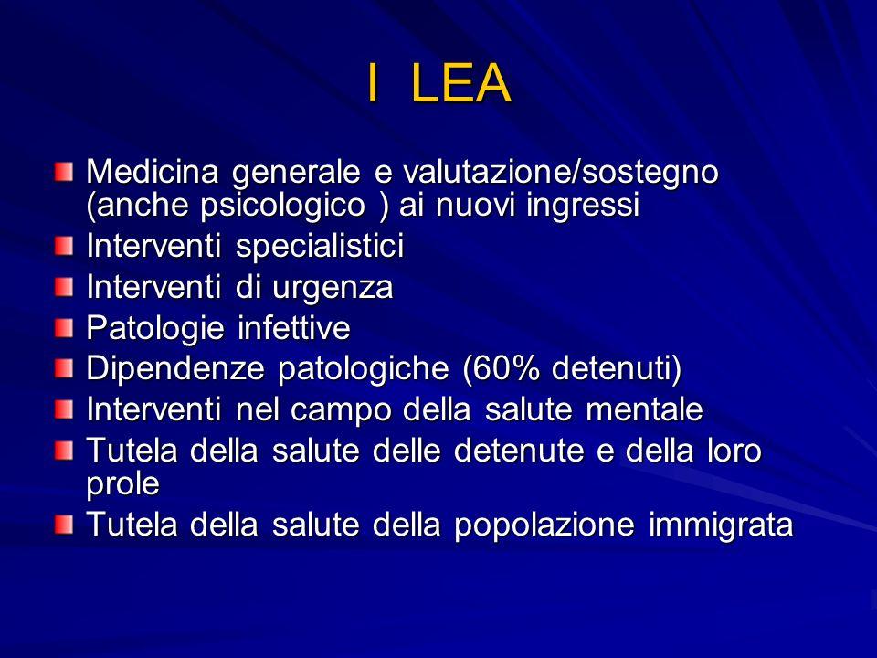 I LEA Medicina generale e valutazione/sostegno (anche psicologico ) ai nuovi ingressi Interventi specialistici Interventi di urgenza Patologie infetti
