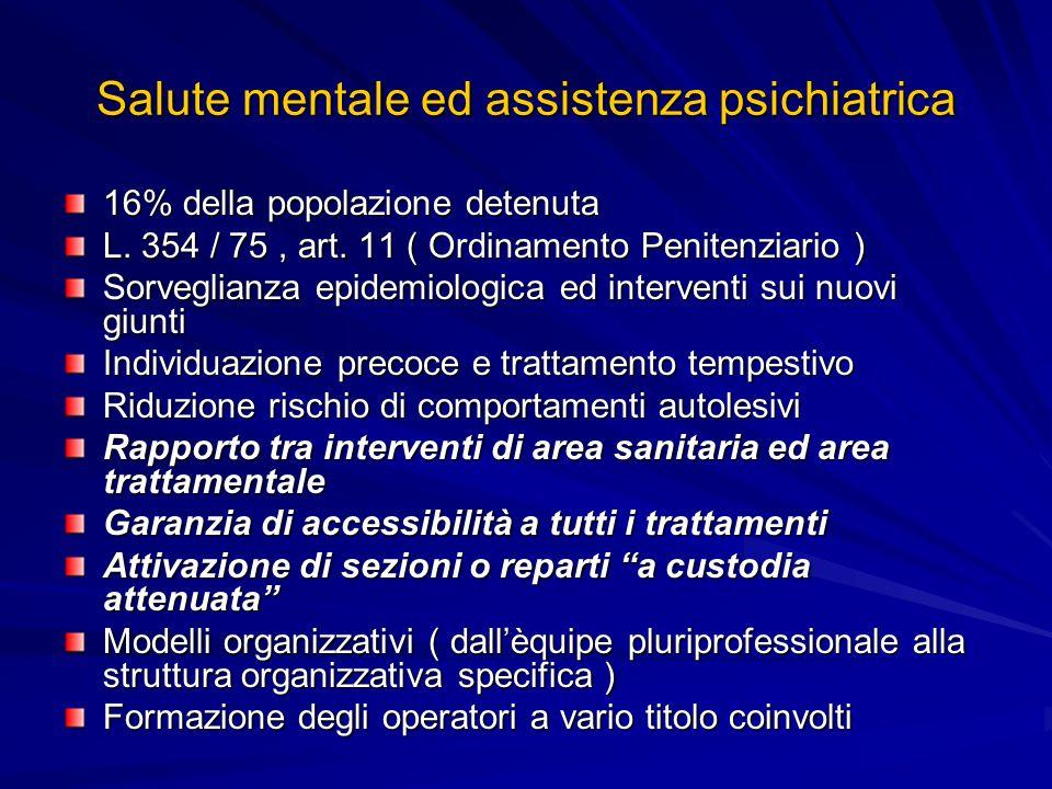 Salute mentale ed assistenza psichiatrica 16% della popolazione detenuta L. 354 / 75, art. 11 ( Ordinamento Penitenziario ) Sorveglianza epidemiologic