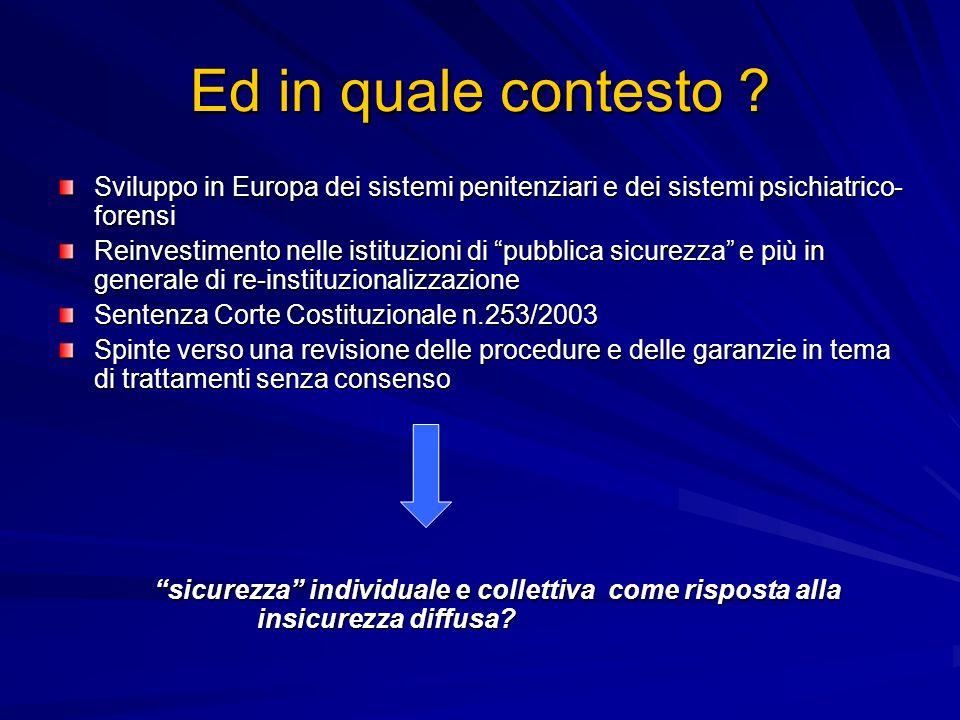 Ed in quale contesto ? Sviluppo in Europa dei sistemi penitenziari e dei sistemi psichiatrico- forensi Reinvestimento nelle istituzioni di pubblica si