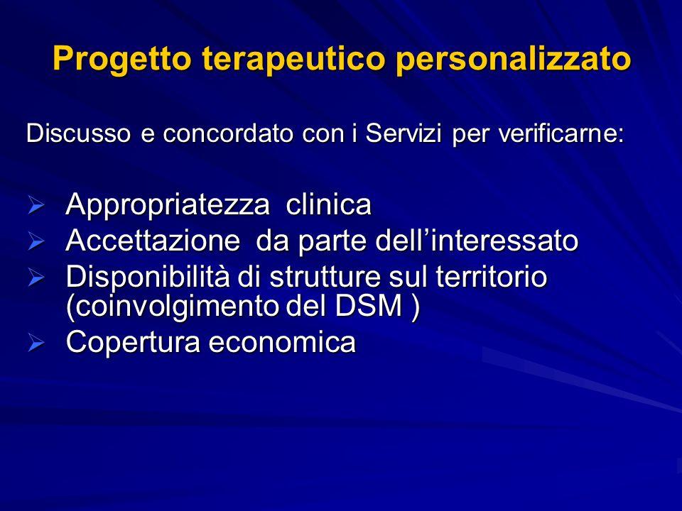 Progetto terapeutico personalizzato Discusso e concordato con i Servizi per verificarne: Appropriatezza clinica Appropriatezza clinica Accettazione da