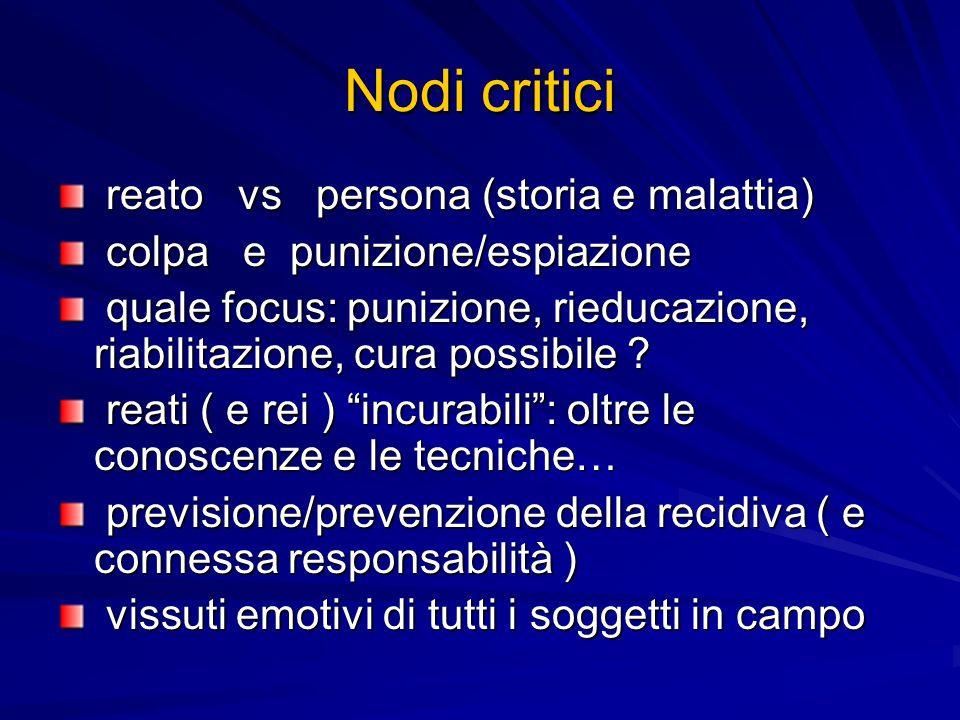 Nodi critici reato vs persona (storia e malattia) reato vs persona (storia e malattia) colpa e punizione/espiazione colpa e punizione/espiazione quale