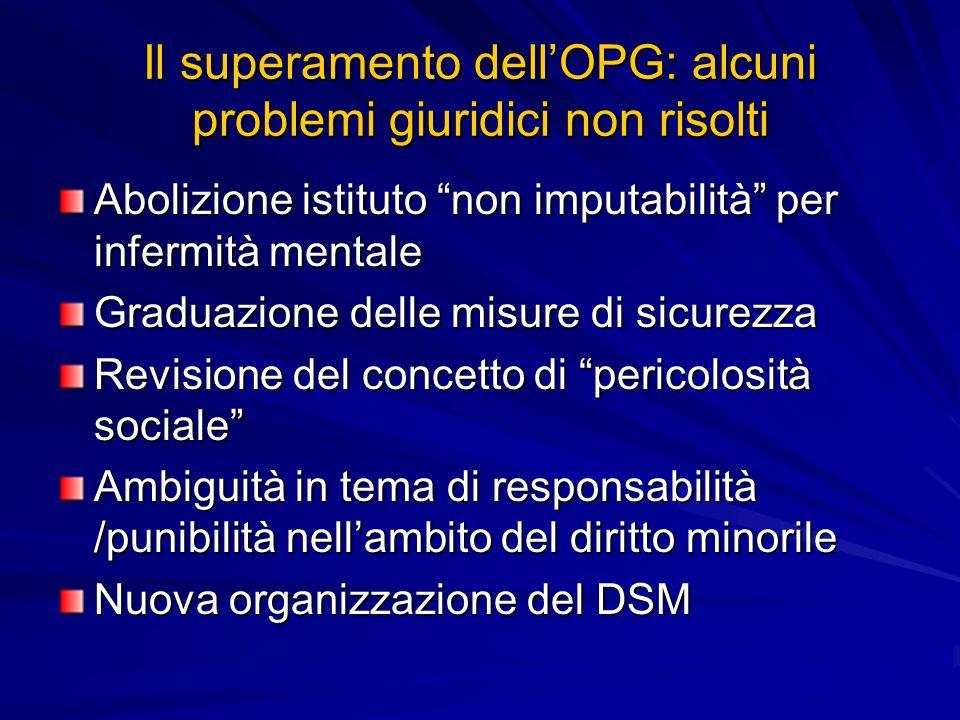 Il superamento dellOPG: alcuni problemi giuridici non risolti Abolizione istituto non imputabilità per infermità mentale Graduazione delle misure di s