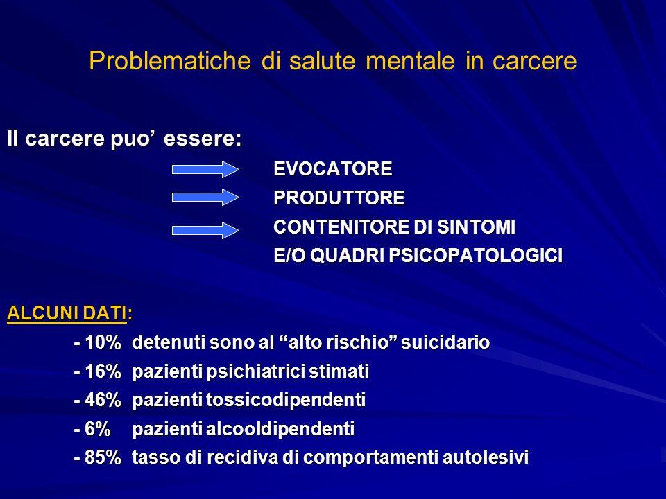 Problematiche di salute mentale in carcere Il carcere puo essere: EVOCATOREPRODUTTORE CONTENITORE DI SINTOMI E/O QUADRI PSICOPATOLOGICI ALCUNI DATI: -