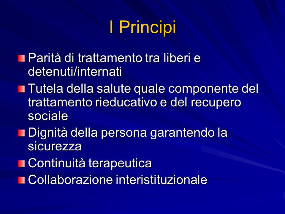 I Principi Parità di trattamento tra liberi e detenuti/internati Tutela della salute quale componente del trattamento rieducativo e del recupero socia