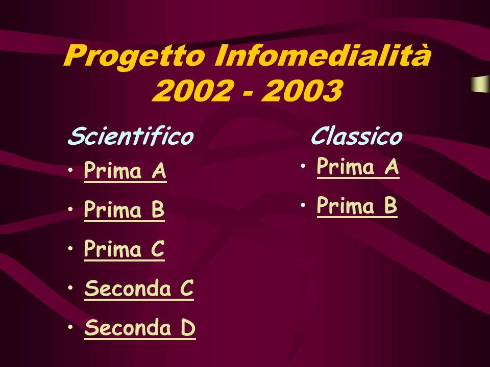 Progetto Infomedialità 2002 - 2003 Scientifico Classico Prima A Prima B Prima C Seconda C Seconda D Prima A Prima B
