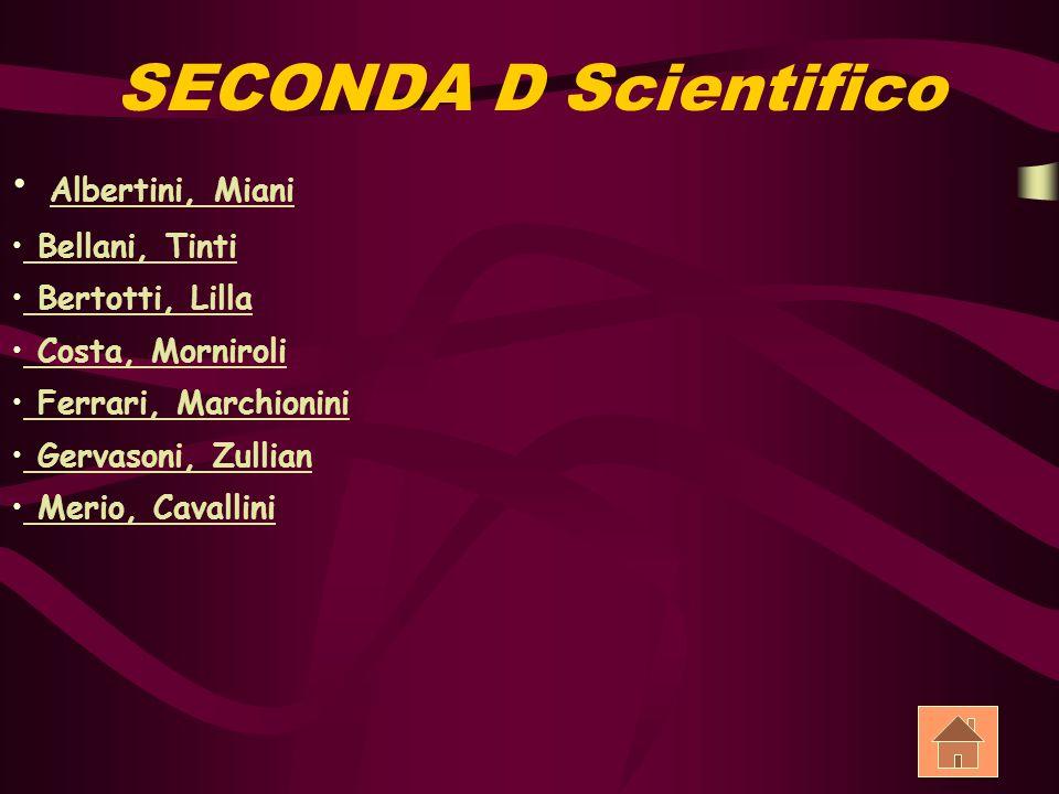 SECONDA D Scientifico Albertini, Miani Bellani, Tinti Bellani, Tinti Bertotti, Lilla Bertotti, Lilla Costa, Morniroli Costa, Morniroli Ferrari, Marchi
