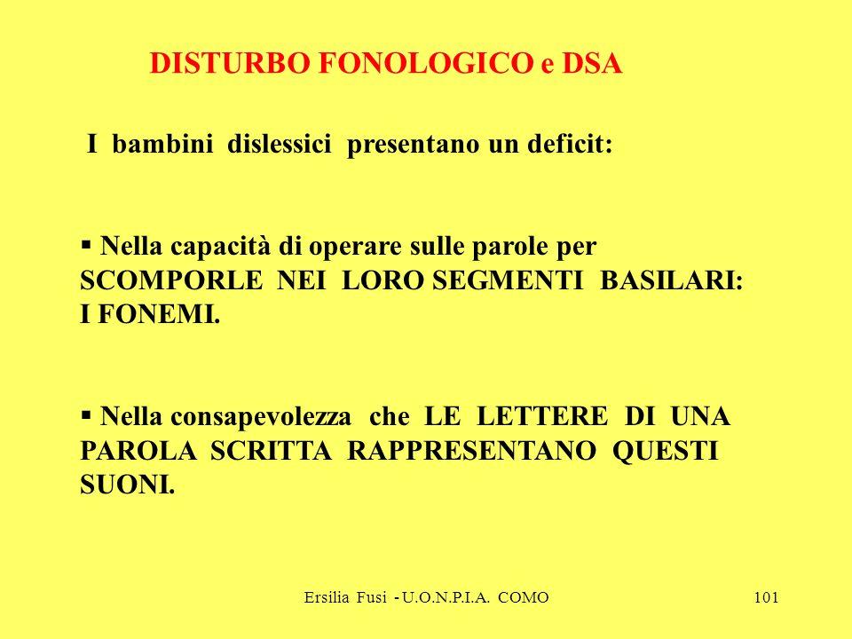 Ersilia Fusi - U.O.N.P.I.A. COMO101 DISTURBO FONOLOGICO e DSA I bambini dislessici presentano un deficit: Nella capacità di operare sulle parole per S