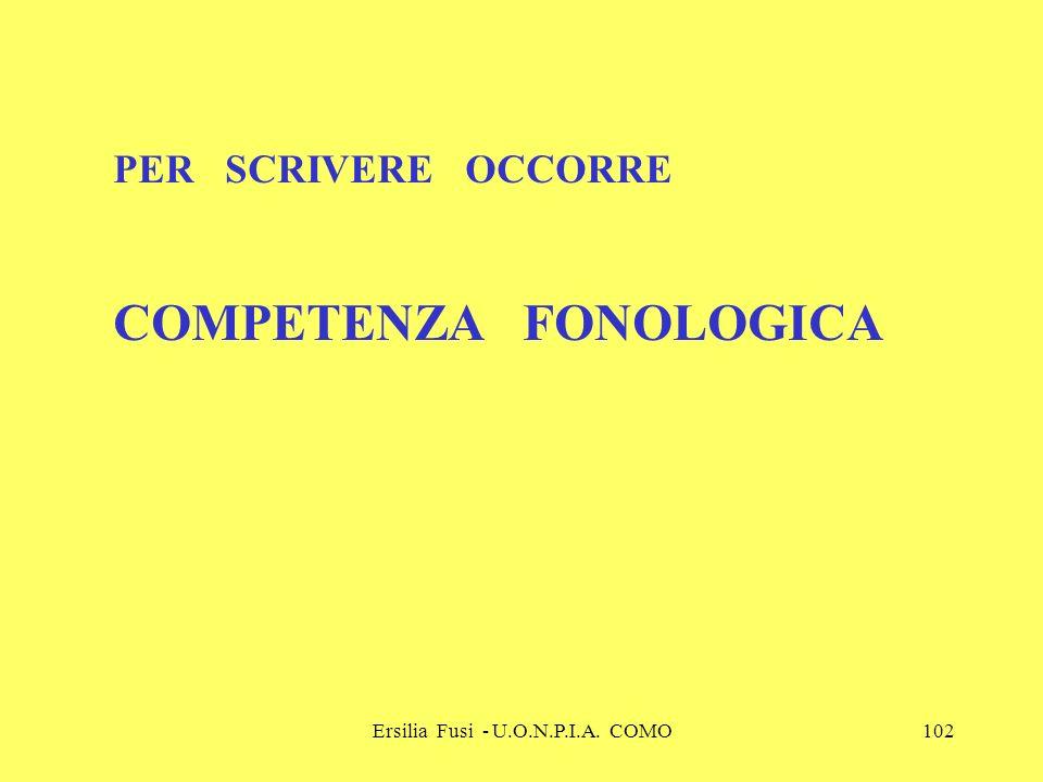Ersilia Fusi - U.O.N.P.I.A. COMO102 PER SCRIVERE OCCORRE COMPETENZA FONOLOGICA
