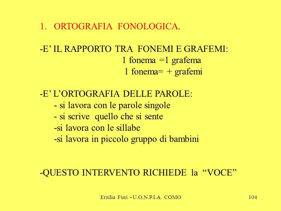Ersilia Fusi - U.O.N.P.I.A. COMO104 1.ORTOGRAFIA FONOLOGICA. -E IL RAPPORTO TRA FONEMI E GRAFEMI: 1 fonema =1 grafema 1 fonema= + grafemi -E LORTOGRAF