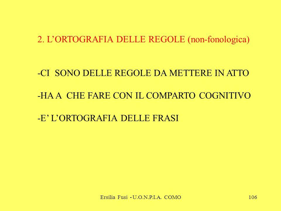 Ersilia Fusi - U.O.N.P.I.A. COMO106 2. LORTOGRAFIA DELLE REGOLE (non-fonologica) -CI SONO DELLE REGOLE DA METTERE IN ATTO -HA A CHE FARE CON IL COMPAR