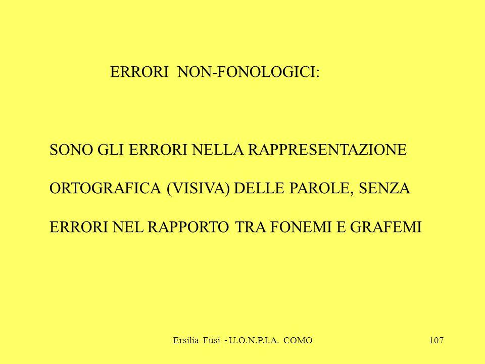 Ersilia Fusi - U.O.N.P.I.A. COMO107 ERRORI NON-FONOLOGICI: SONO GLI ERRORI NELLA RAPPRESENTAZIONE ORTOGRAFICA (VISIVA) DELLE PAROLE, SENZA ERRORI NEL