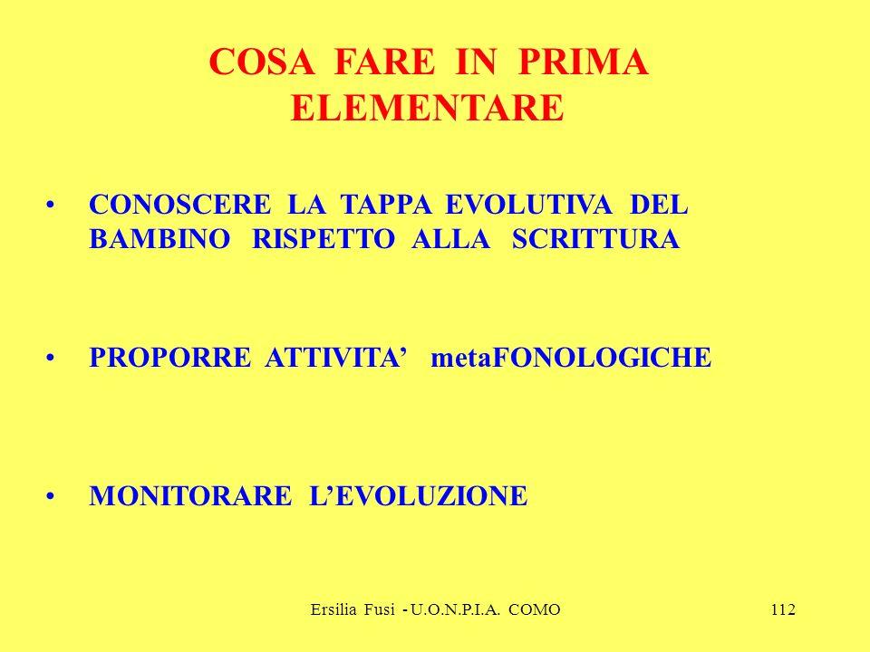 Ersilia Fusi - U.O.N.P.I.A. COMO112 COSA FARE IN PRIMA ELEMENTARE CONOSCERE LA TAPPA EVOLUTIVA DEL BAMBINO RISPETTO ALLA SCRITTURA PROPORRE ATTIVITA m