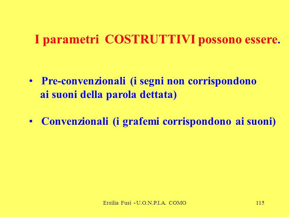 Ersilia Fusi - U.O.N.P.I.A. COMO115 I parametri COSTRUTTIVI possono essere. Pre-convenzionali (i segni non corrispondono ai suoni della parola dettata