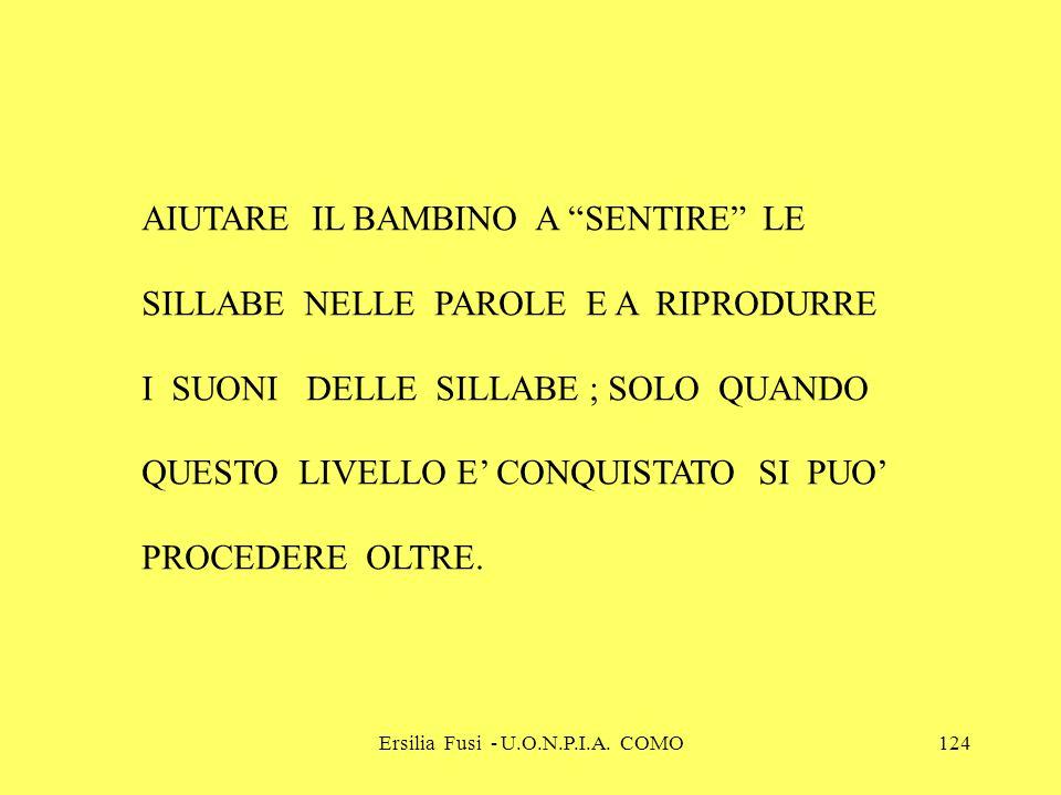 Ersilia Fusi - U.O.N.P.I.A. COMO124 AIUTARE IL BAMBINO A SENTIRE LE SILLABE NELLE PAROLE E A RIPRODURRE I SUONI DELLE SILLABE ; SOLO QUANDO QUESTO LIV
