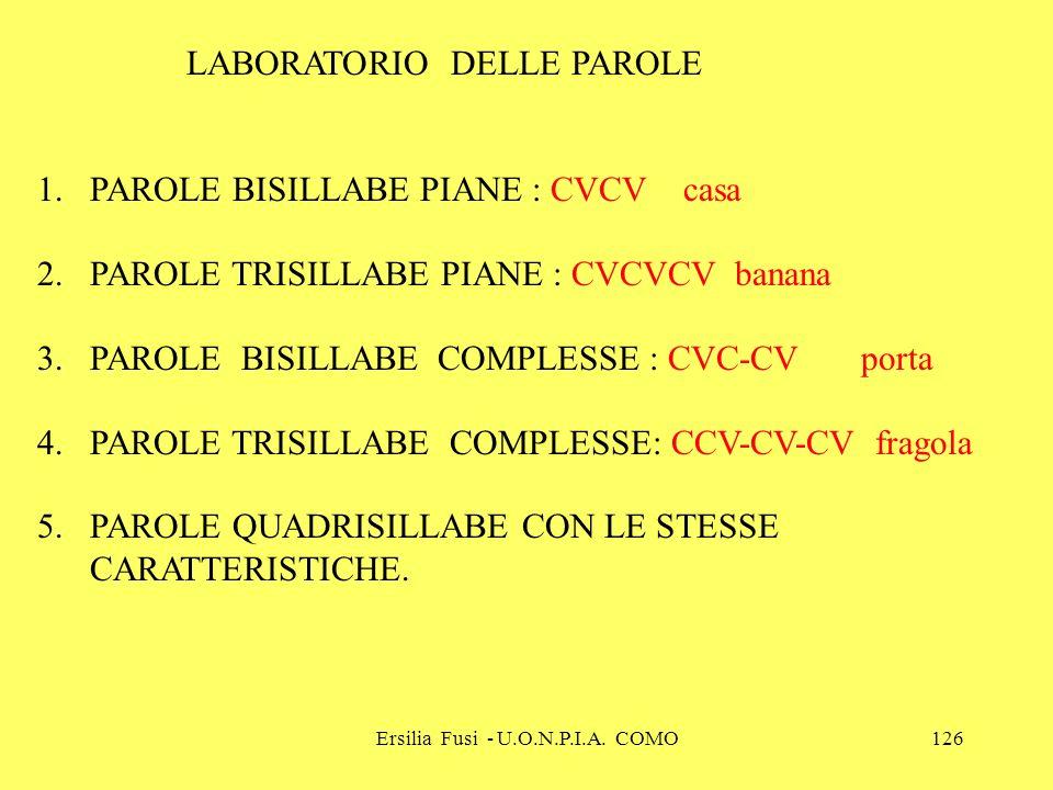 Ersilia Fusi - U.O.N.P.I.A. COMO126 LABORATORIO DELLE PAROLE 1.PAROLE BISILLABE PIANE : CVCV casa 2.PAROLE TRISILLABE PIANE : CVCVCV banana 3.PAROLE B