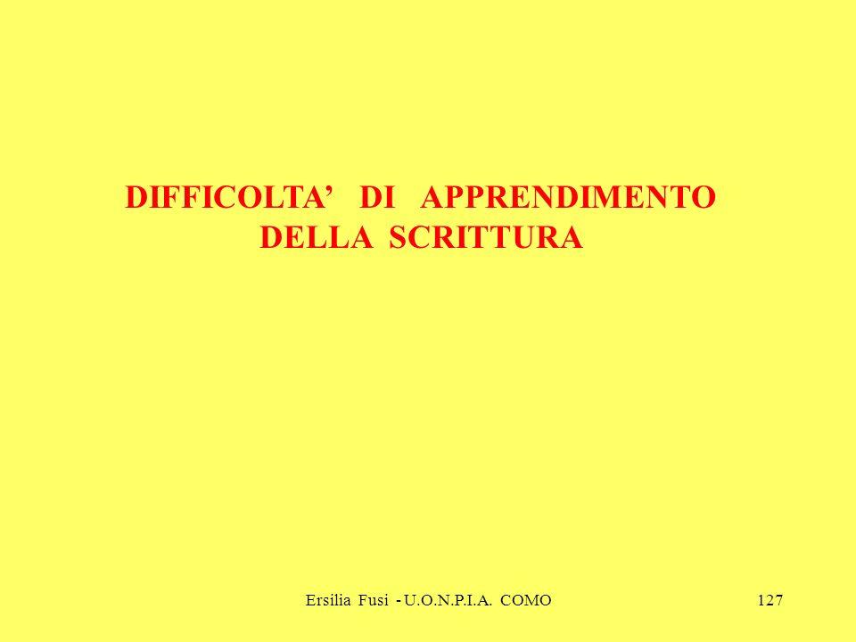 Ersilia Fusi - U.O.N.P.I.A. COMO127 DIFFICOLTA DI APPRENDIMENTO DELLA SCRITTURA