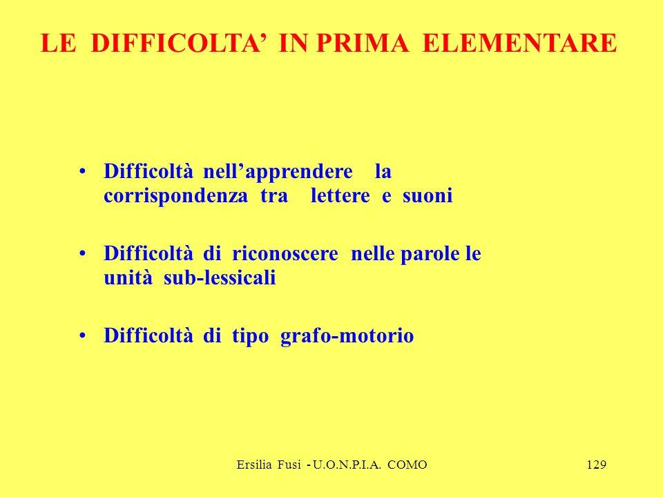Ersilia Fusi - U.O.N.P.I.A. COMO129 LE DIFFICOLTA IN PRIMA ELEMENTARE Difficoltà nellapprendere la corrispondenza tra lettere e suoni Difficoltà di ri