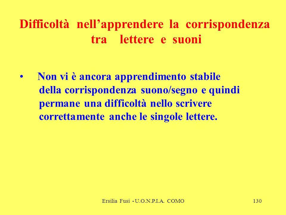 Ersilia Fusi - U.O.N.P.I.A. COMO130 Non vi è ancora apprendimento stabile della corrispondenza suono/segno e quindi permane una difficoltà nello scriv