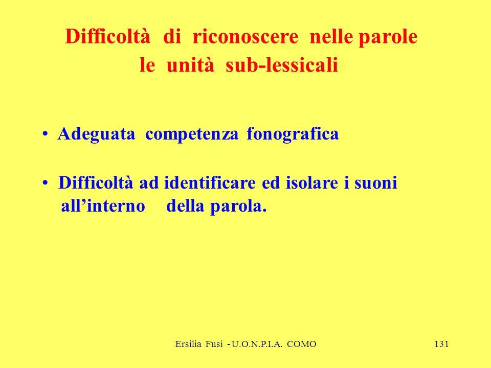 Ersilia Fusi - U.O.N.P.I.A. COMO131 Adeguata competenza fonografica Difficoltà ad identificare ed isolare i suoni allinterno della parola. Difficoltà