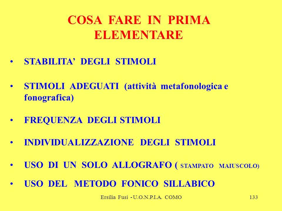 Ersilia Fusi - U.O.N.P.I.A. COMO133 COSA FARE IN PRIMA ELEMENTARE STABILITA DEGLI STIMOLI STIMOLI ADEGUATI (attività metafonologica e fonografica) FRE