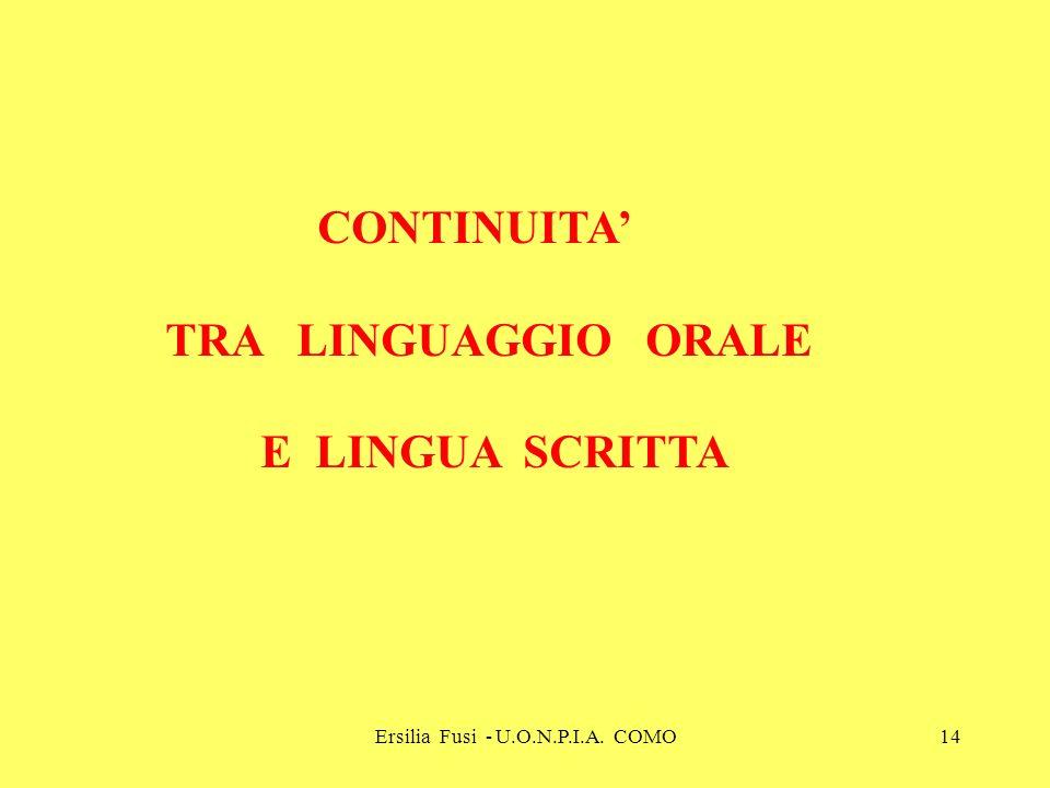 Ersilia Fusi - U.O.N.P.I.A. COMO14 CONTINUITA TRA LINGUAGGIO ORALE E LINGUA SCRITTA