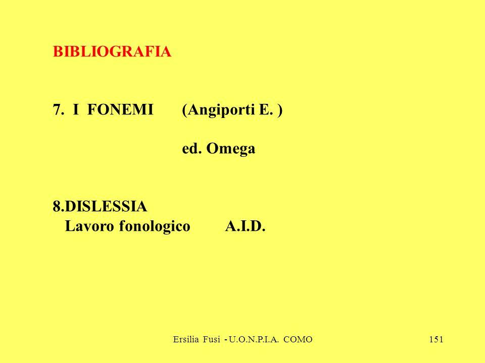 Ersilia Fusi - U.O.N.P.I.A. COMO151 BIBLIOGRAFIA 7. I FONEMI (Angiporti E. ) ed. Omega 8.DISLESSIA Lavoro fonologico A.I.D.